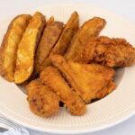 dark fried chicken dinner